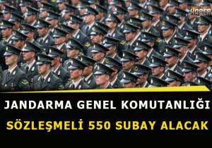 Jandarma Genel Komutanlığı sözleşmeli 550 subay alım ilanı